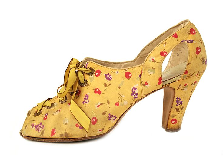 1930s yellow floral silk heels by Cutler Studio of Hollywood