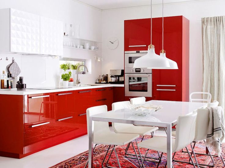 24 best Cuisine rouge images on Pinterest Red kitchen, Kitchens - Photo Cuisine Rouge Et Grise
