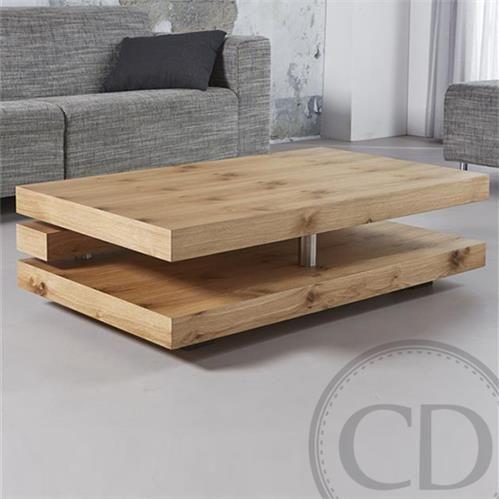 Table basse en chêne naturel - Warm  Table basse design composée de 3 étages en bois chêne naturel (L: 120cm X P: 70cm X H: 34cm)