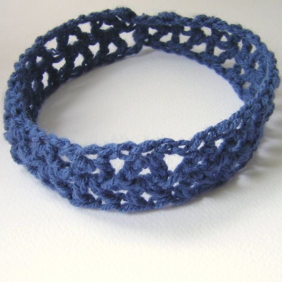 Crochet Elastic Hair Band : Blue jeans and Girl Headband Stretchy Bow Elastic band Crochet Hair ...
