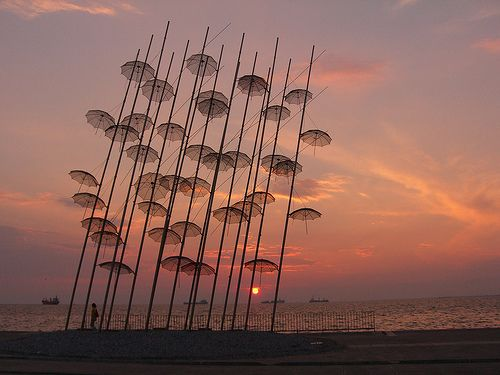 art installation by George Zoggolopoulos, by the sea at Thessaloniki, Greece
