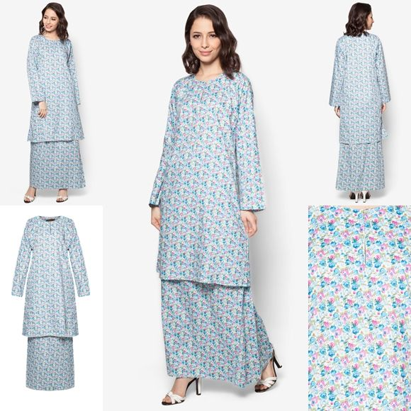 Baju Kurung Cotton Warna Blue Pink - Baju Raya 2016