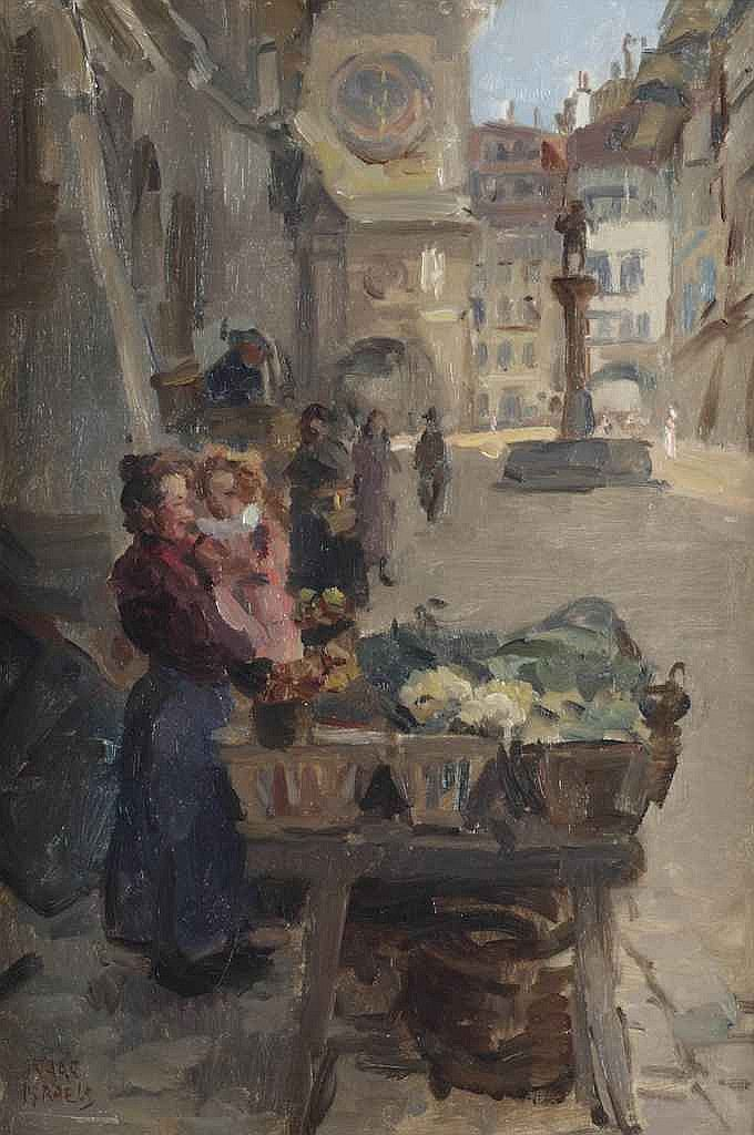 Isaac Israels (1865-1934) Selling vegetables at Kramgasse, Bern signed 'Isaac Israels' (lower left) oil on canvas 59 x 40.5 cm. Painted circa 1915-1916.