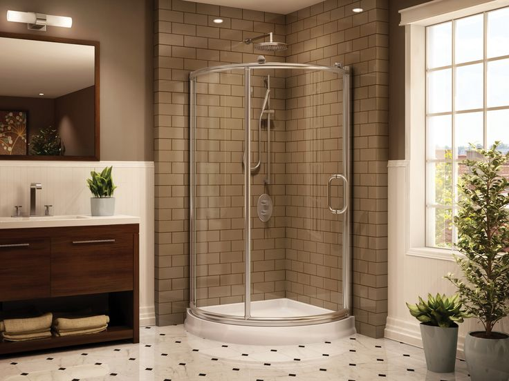 Amazing Bathroom Ideas For Small Space With Cool Corner Shower Units And  Brick Pattern Tiling Floor