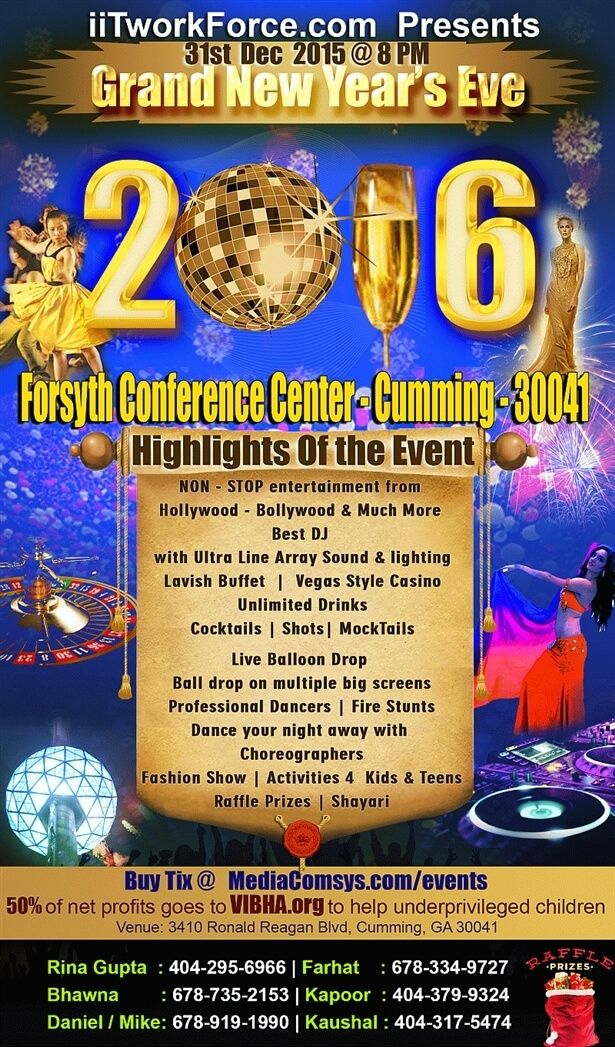 Beautiful Grand New Years Eve 2016 Atlanta Dec 31st night by Media ComSys, IIT Workforce in Forsyth Conference Center (Lanier Tech), Cumming,GA Tickets – Indian Event