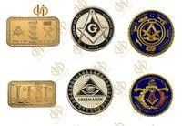 Wish | 3PCS/Lot Masonic Coins Gold Plated United State Freemason Masonic Lodge Symbols Magnificent Bullion Bar Metal Coins (Size: 40mm, Color: Gold)