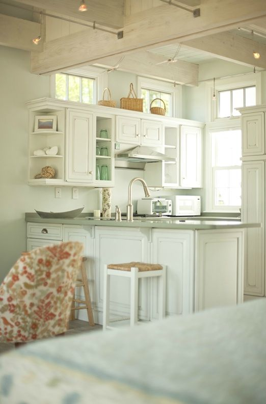 white & grey kitchen w/ beamed ceiling & whitewashed wood -- Creative Cottages - Inside an Adorable Bungalow