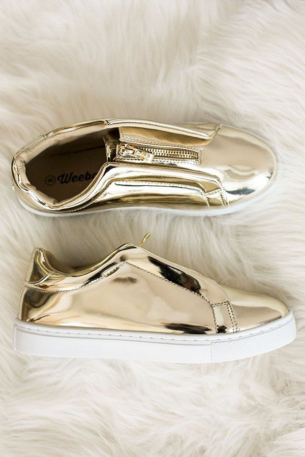 fedf5f9ee6ec The Juniper Metallic Sneaker-  29 As Shown. Add a touch of glam with these  metallic gold sneakers! Zipper detail. White Sole.