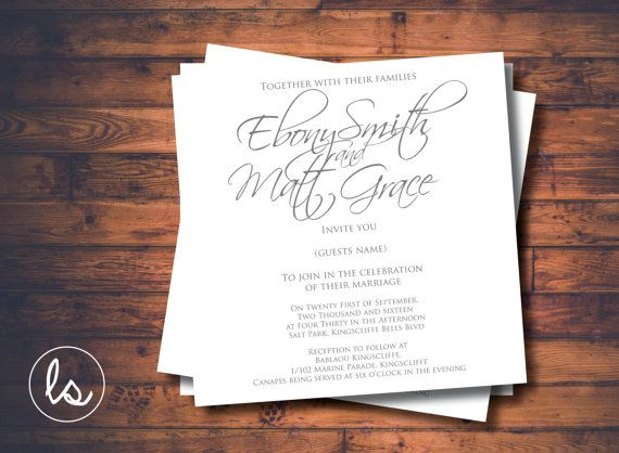 Handwritten Grey and White Square Wedding Invitation ~ DIY PRINTABLE ~ Professional Printing with envelopes and postage included
