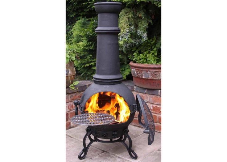 The Toledo Large Chiminea in Black Cast Iron by Gardeco | Fireplace World