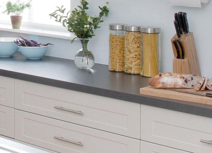 white shaker cupboards dark benchtop  kitchen kitchen