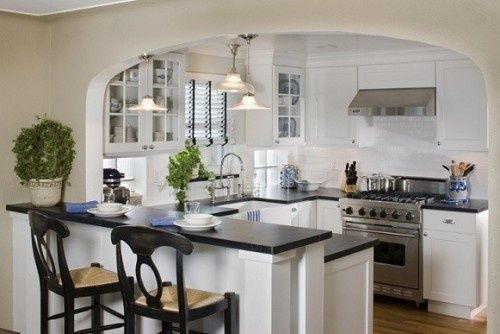 Almost our layout: small country kitchens featuring peninsula breakfast bar, glass cabinets in monochromatic