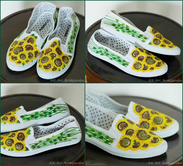 Ręcznie malowane tenisówki w słoneczniki/ Hand painted sneakers with sunflowers/ Hand bemalte Turnschuhe mit Sonnenblumen