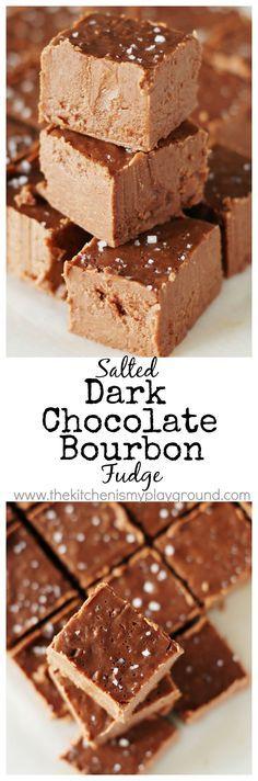 Salted Dark Chocolate Bourbon Fudge ~ little bites of chocolate-bourbon heaven. Such a great combination! www.thekitchenismyplayground.com