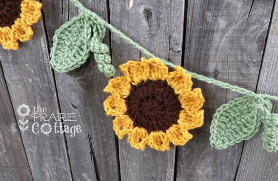 Crochet Sunflower Garland