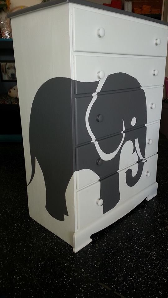 Child's chest of drawers - painted white with hand painted elephant in charcoal gray. Great addition to any child's room done the Jut Repurposed way. www.justrepurposed.com