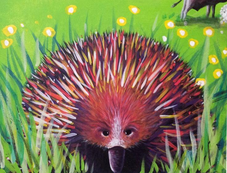 Echidna from GUM TREE MURAL by Australian Artist, Selinah Bull http://www.selinahbull.com