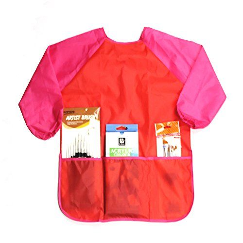 Long Sleeve Full Protection Children's Artist Smocks Art Smock, Waterproof Painting Toddler Apron, Ages 3-6 Red ** Read review @