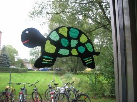 Leuke schildpad voor het raam