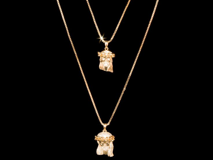 2 Chain Set: Cuban Crown Iced Out Jesus Piece Necklace