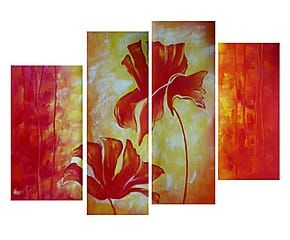 Composizione di 4 tele dipinte a mano Fiori essenziali - max 30x70 cm