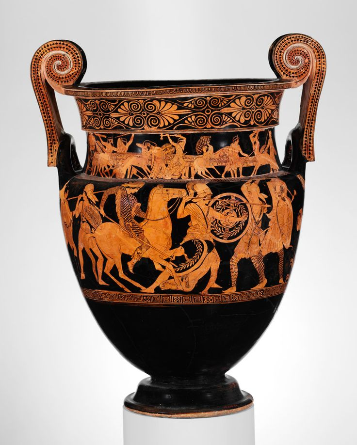 Attic red-figure volute-krater (bowl for mixing wine and water) attributed to the Painter of Woolly Satyrs (namepiece), ca. 450 BC. Metropolitan Museum of Art, New York. Rogers Fund, 1907 (07.286.84)