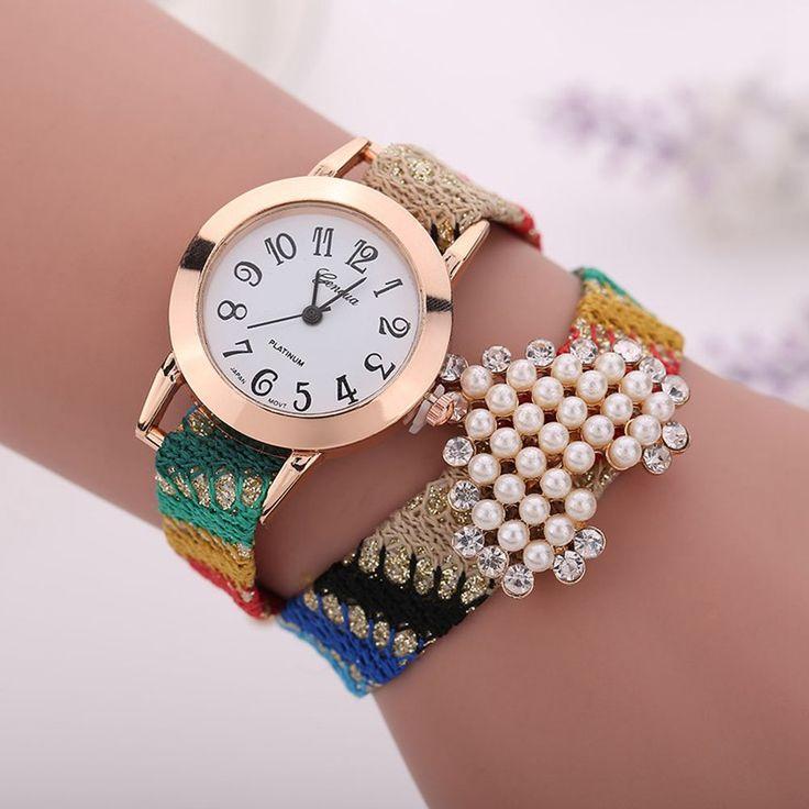 New Casual Fabric Bracelet Watch Women Charming Brand New Heart Pearl Geneva Watch Women's Dress Watch Heart pearl reloj mujer