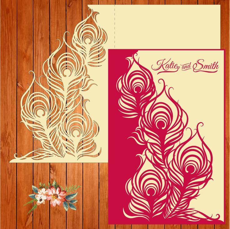 Invitación de la boda tarjeta plantilla, figuras, plumas (ai, eps, svg) lasercut descarga inmediata de thehousedesigns en Etsy