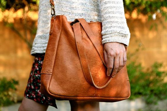 BOHO Leather BAG // Boho leather shoulder bag / Big tote by KURTIK