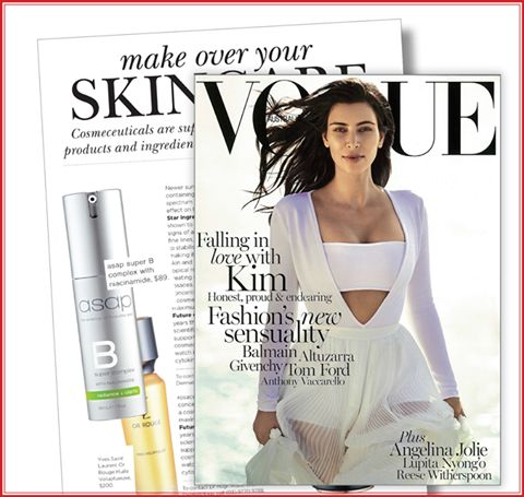 """We're so excited to be featured in this month's Vogue Australia magazine! Look out for asap super B complex in the 'make over your skincare' article in the cosmetic enhancement and anti-ageing special. asap super B complex contains the latest anti-ageing, hero ingredient, Niacinamide - a star ingredient that has been shown to """"significantly reduce the visible signs of ageing such as fine lines, pigmentation and redness""""."""