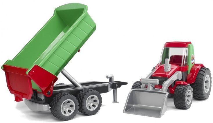 Heet je kind welkom in de wereld van Bruder en zijn schaalmodellen met de Roadmax tractor met voorlader en aanhanger.   Afmeting: 185x675x183 mm - Tractor met voorlader en aanhanger Bruder Roadmax