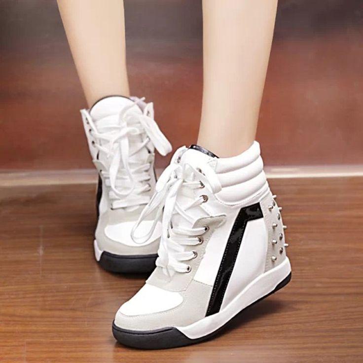 Encontrar Más Moda Mujer Sneakers Información acerca de High top ocultos cuña altos talones forman a mujeres ascensor botines causales zapatilla de deporte calzado deportivo transpirable zapatos de Velcro ZAQ8, alta calidad Moda Mujer Sneakers de william's shop 1987 en Aliexpress.com