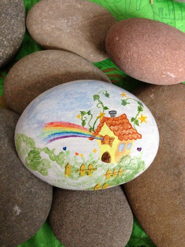 Painted rock / stone - colorful dream house