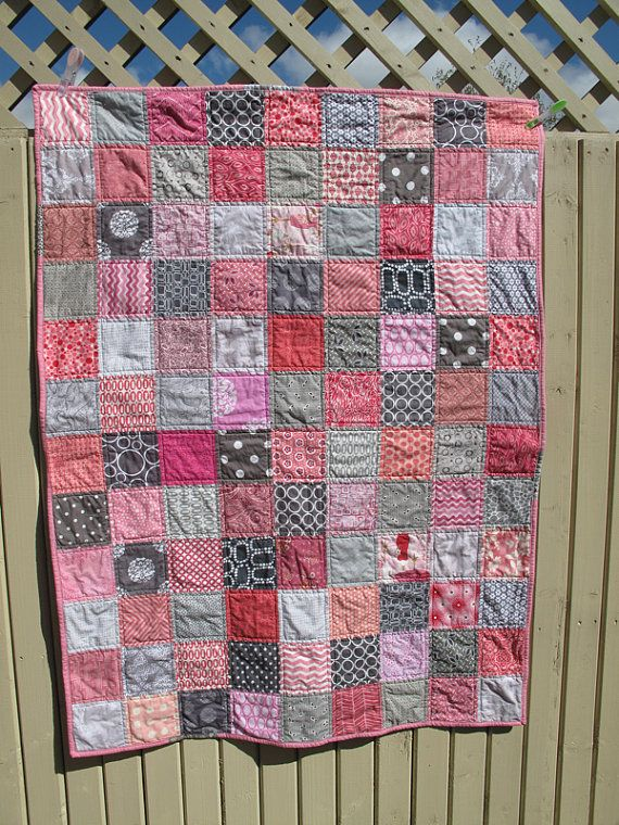 Hey, I found this really awesome Etsy listing at https://www.etsy.com/listing/187603634/handmade-baby-quilt-in-grey-and-pink