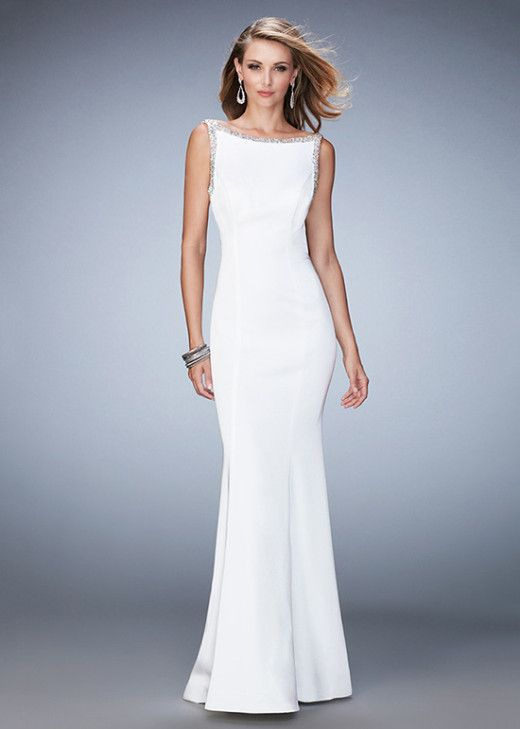 Elegant Jersey White Embellished Straps Open Back Evening Dress UK [La Femme 22761 White] – £130 : Cheap Custom Prom Dresses UK,Discount Bridesmaid Dresses,Special Occasion Dresses Online Shop,Cocktail Dresses For Party,Alisa Dresses Designer: Ailsadress.co.uk
