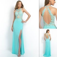 2015 Formal Open Back Sheer Prom Dresses Mint Green Appliques Lace Cut Out Evening Gowns Custom Made Halter Dress For Girls Party Discount