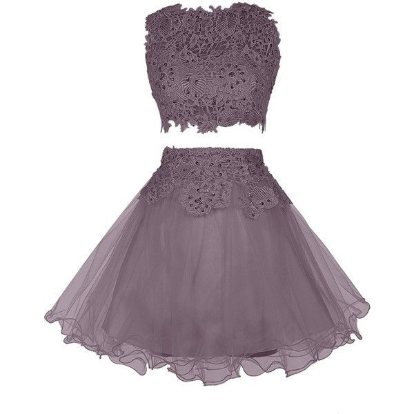 Wedtrend Women's Two Piece Bridesmaids Dress Short Prom Dress with... (58.170 CLP) ❤ liked on Polyvore featuring dresses, purple cocktail dress, short cocktail prom dresses, two-piece dresses, short prom dresses and bridesmaid dresses