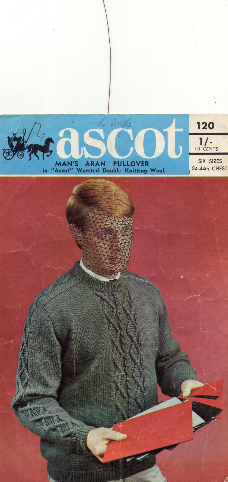 "Katherine Claypole, 2014, ""Ascot Worsted"" hand embroidered thread on knitting pattern"