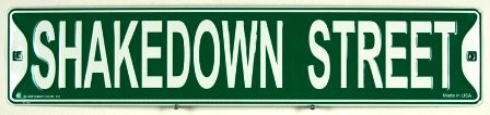 "Grateful Dead - Shakedown Street Sign - $11.99  What's shakin on Shakedown Street?  Authentic looking metal street sign. Measures 24"" x 5"" Hang it in your room, dorm, garage, bar, or anywhere."