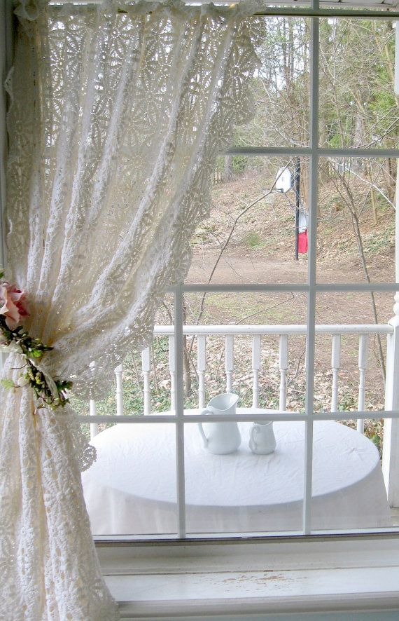 Crochet Tablecloth Curtain Large Window by mailordervintage