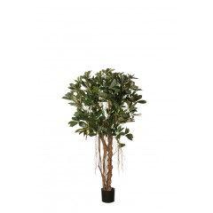 Kunstboom baby shefflera met 893 bladeren groen geel 90cm hoog