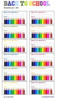 Back to school/2: etichette per libri e quaderni da stampare by Handmade…