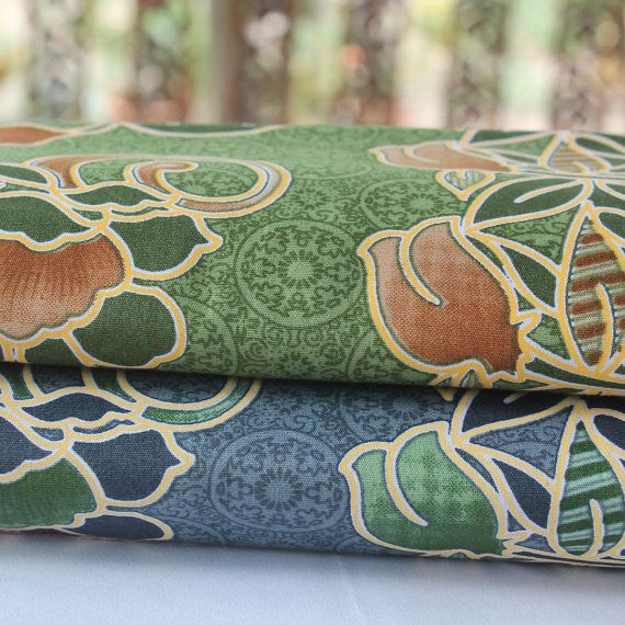 gray and green flowers print 2 piece  traditional by TheThailand, $15.00