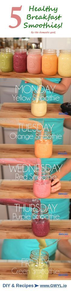 Learn how to make five easy smoothie recipes, one for each day of the week! Recipes here --> https://gwyl.io/five-easy-mouthwatering-smoothie-recipes/