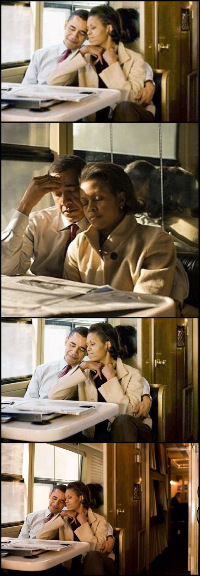 MichelleObama ride on his campaign bus in New Hampshire after a late night of campaigning in 2008. Obama Legacy a smart and classy President and First Lady