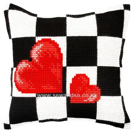 Hearts and Checks Cushion Front Chunky Cross Stitch Kit