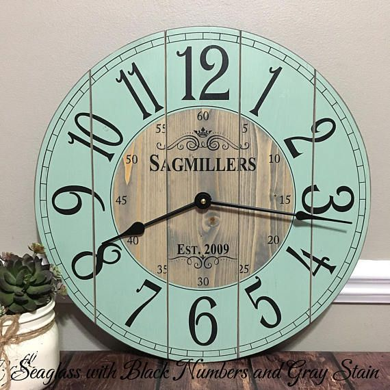 16 Inch Wooden Farmhouse Clock Arabic Numbers Rustic Wall Etsy Diy Clock Wall Rustic Wall Clocks Small Wall Clock