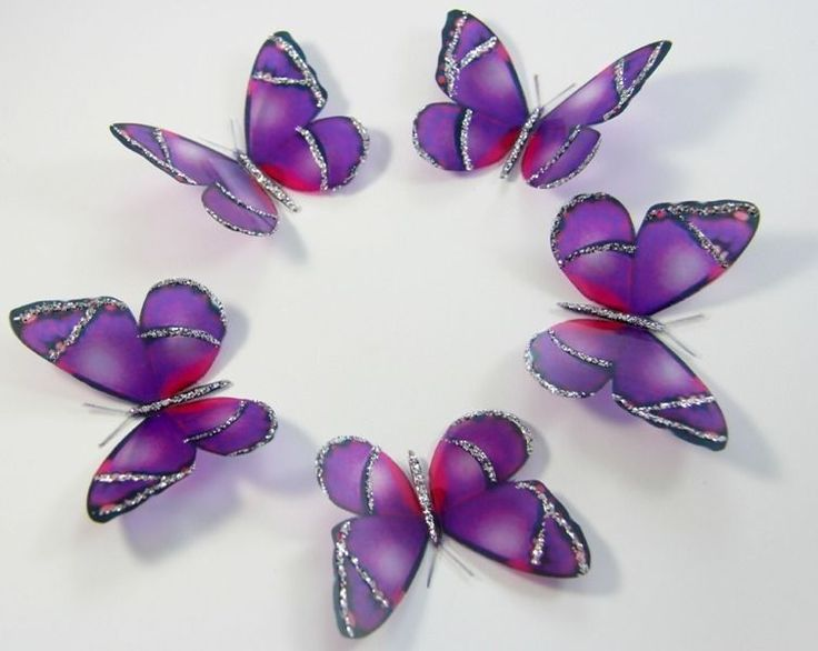20 X Purple Butterflies Wedding Cake Toppers Decals Birthdays Scrapbooking