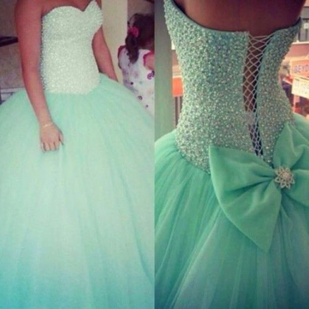 dress torquise studded Bow Back Dress quincenera dress