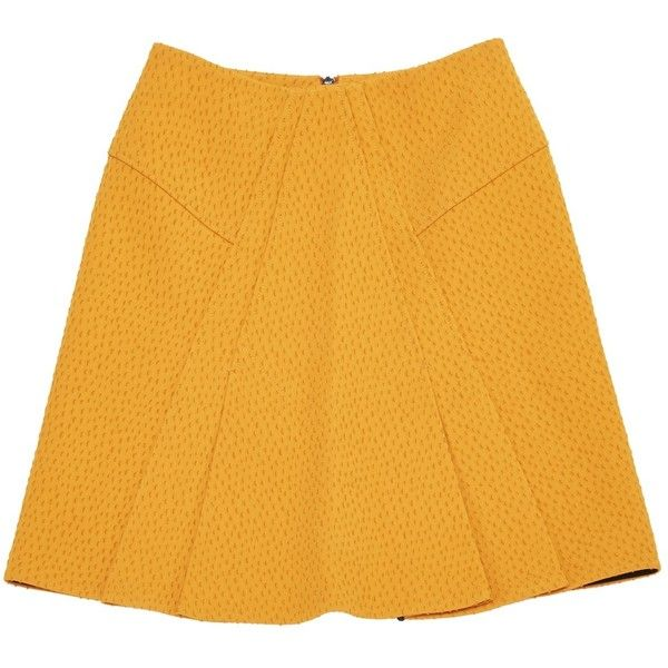 Pre-owned Roland Mouret Mid-Length Skirt (8,315 INR) ❤ liked on Polyvore featuring skirts, orange, women clothing skirts, roland mouret skirts, mid length skirts, yellow skirt, roland mouret and orange skirt